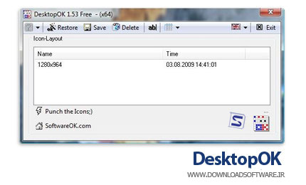 DesktopOK 4.29 x86/x64 ذخیره و بازیابی موقعیت آیکون های دسکتاپ