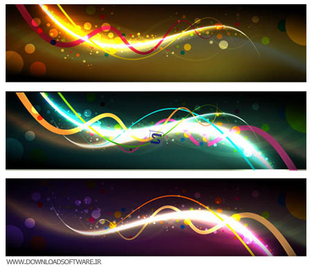 Vectors Abstract Dark Banners  مجموعه ۲ وکتور بنرهای رنگارنگ Vectors Abstract Dark Banners