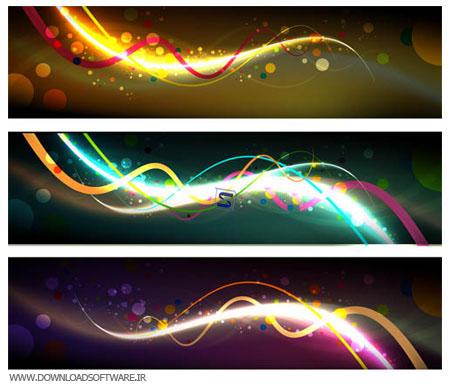 مجموعه ۲ وکتور بنرهای رنگارنگ Vectors Abstract Dark Banners