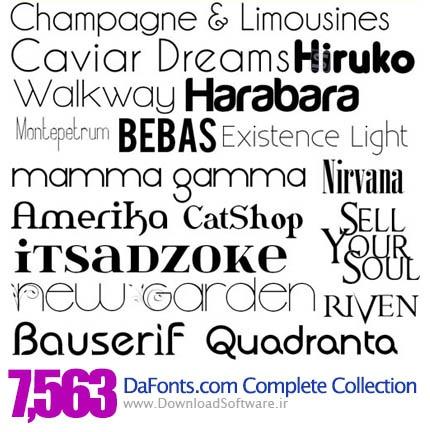 مجموعه کامل فونت های سایت DaFonts.com از سال ۲۰۰۷ تا ۲۰۱۱ شامل ۷۶۵۳ فونت زیبا