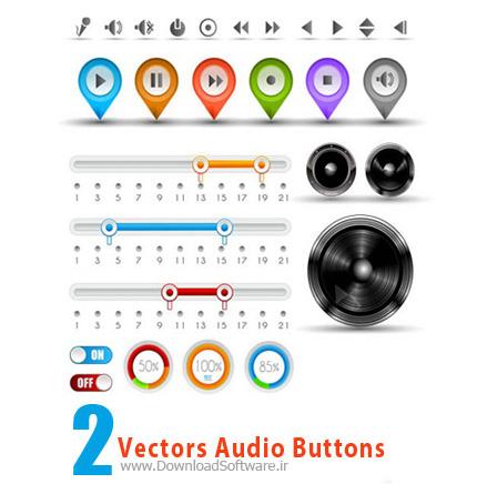 Vectors Audio Buttons وکتور دکمه های صوتی