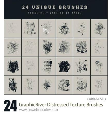 دانلود 24 براش فتوشاپ گرانج کثیف و قدیمی از گرافیک ریور - GraphicRiver 24 Distressed Texture Brushes