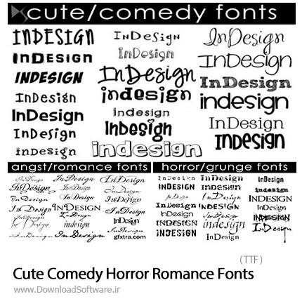 دانلود مجموعه فونت های انگلیسی متنوع - Cute Comedy Horror Grunge And Angst Romance Fonts