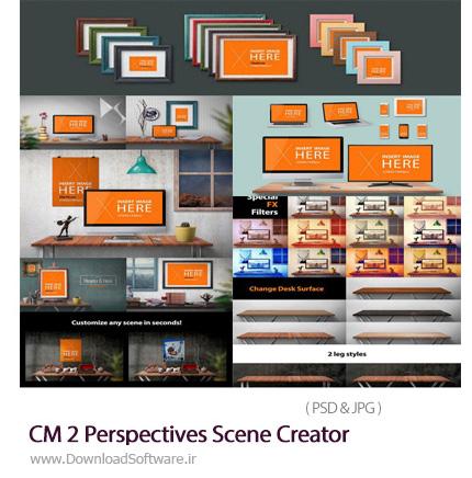 دانلود مجموعه قالب پیش نمایش یا موکاپ ساخت صحنه های پرسپکتیو میز کار و اتاق - CM 2 Perspectives Scene Creator