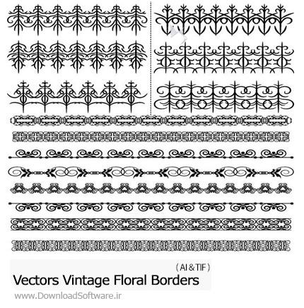 دانلود تصاویر وکتور حاشیه های تزئینی گلدار - Vector Vintage Floral Borders