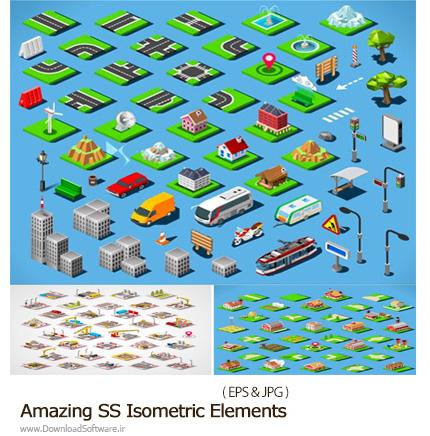 دانلود تصاویر وکتور ساختمان و عناصر طراحی نقشه ایزومتریک از شاتراستوک - Amazing ShutterStock Isometric Elements