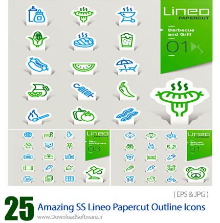 دانلود تصاویر وکتور آیکون های متنوع برچسب خطی از شاتر استوک - Amazing ShutterStock Lineo Papercut Outline Icons