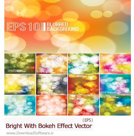 دانلود تصاویر وکتور پس زمینه افکت بوکه های نورانی رنگارنگ - Bright With Bokeh Effect Vector Background