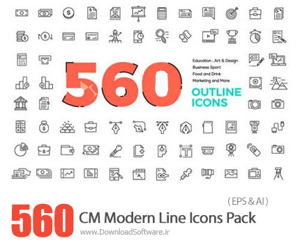 دانلود 560 تصویر وکتور آیکون متنوع - CM 560 Modern Line Icons Pack