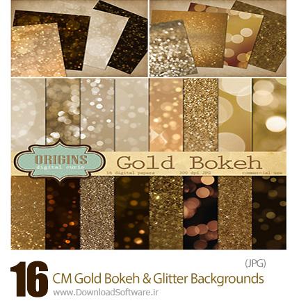 دانلود 16 تصویر با کیفیت پس زمینه های بوکه طلایی و ذرات درخشان تزئینی - CM Gold Bokeh And Glitter Backgrounds