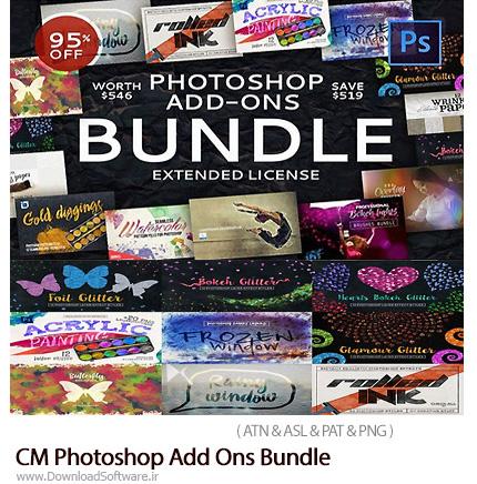 دانلود مجموعه ابزارهای فتوشاپ، براش، پترن، استایل، کلیپ آرت و عناصر طراحی متنوع - CM Photoshop Add-Ons Bundle