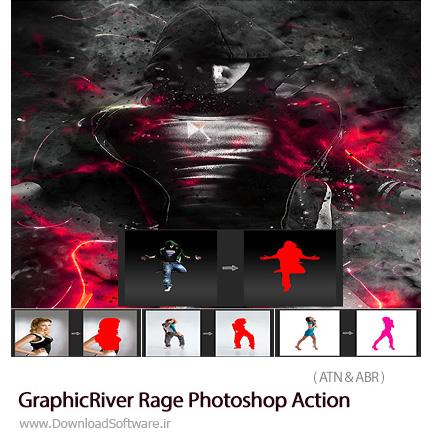 دانلود اکشن فتوشاپ ایجاد افکت انتزاعی خشم بر روی تصاویر از گرافیک ریور - GraphicRiver Rage Photoshop Action