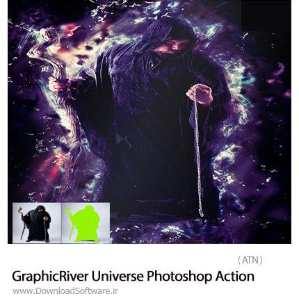دانلود اکشن فتوشاپ ایجاد افکت انتزاعی بر روی تصاویر از گرافیک ریور - GraphicRiver Universe Photoshop Action