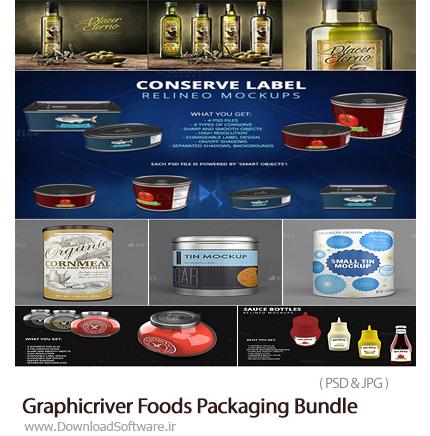 دانلود مجموعه تصاویر لایه باز موکاپ یا قالب پیش نمایش بسته بندی مواد غذایی نوشیدنی، ادویه، کنسرو، بطری و ... از گرافیک ریور - Graphicriver Foods Packaging Bu