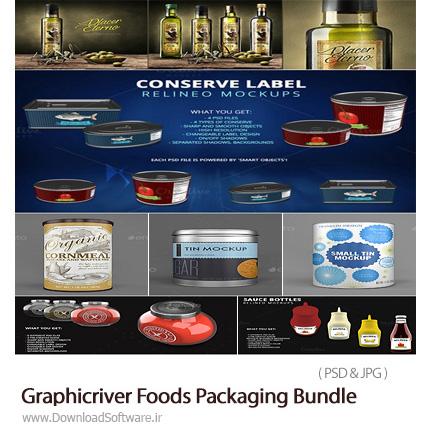 دانلود مجموعه تصاویرموکاپ یا قالب پیش نمایش بسته بندی مواد غذایی، کنسرو، بطری و ... از گرافیک ریور - Graphicriver Foods Packaging Bundle