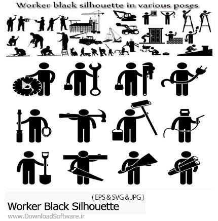 دانلود تصاویر وکتور سایه کارگران، ساختمان، جرثقیل و ... - Worker Black Silhouette In Various Poses