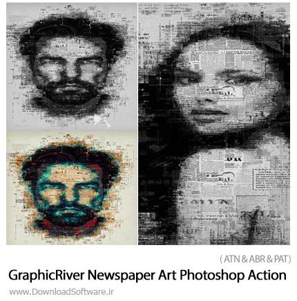 دانلود اکشن فتوشاپ ایجاد افکت هنری روزنامه بر روی تصاویر از گرافیک ریور - GraphicRiver Newspaper Art Photoshop Action