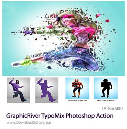 دانلود اکشن فتوشاپ ترکیب تایپوگرافی با عکس از گرافیک ریور - GraphicRiver TypoMix Photoshop Action