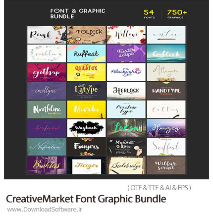 دانلود 52 فونت لاتین و بیش از 750 عناصر طراحی گرافیکی متنوع - CreativeMarket Font Graphic Bundle