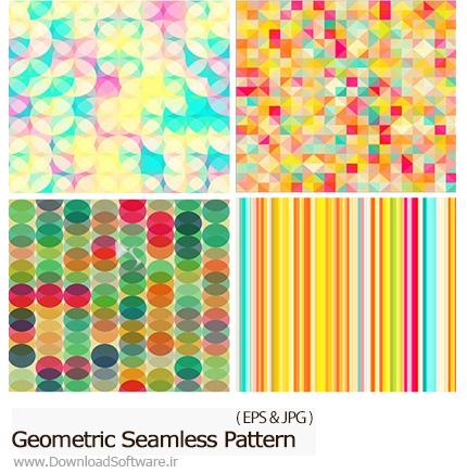دانلود تصاویر وکتور پترن با طرح های هندسی متنوع - Geometric Seamless Pattern
