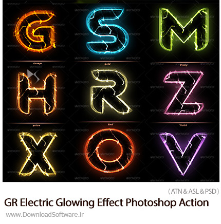 دانلود اکشن فتوشاپ ایجاد افکت الکتریکی درخشان بر روی متون از گرافیک ریور - GraphicRiver Electric Glowing Effect Photoshop Action