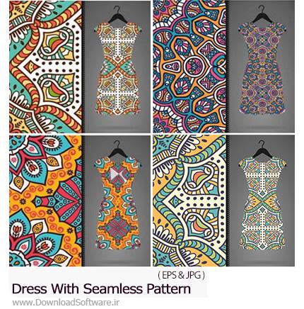 دانلود 2 مجموعه تصاویر وکتور پترن گلدار تزئینی لباس - Stock Vectors Dress With Seamless Pattern