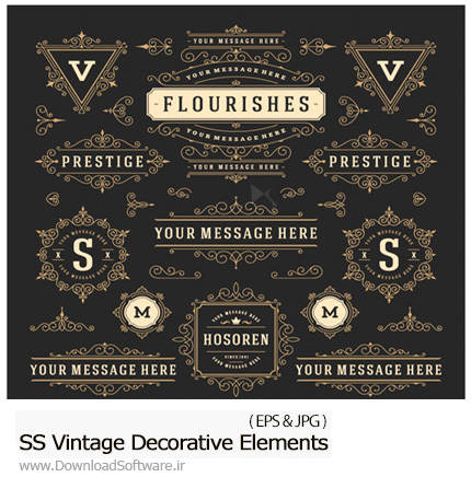 دانلود تصاویر وکتور عناصر تزئینی و قاب و حاشیه، بت و جقه از شاتر استوک - Amazing ShutterStock Vintage Decorative Elements