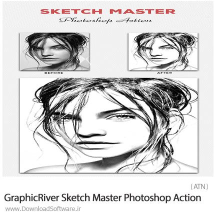 دانلود اکشن فتوشاپ تبدیل تصاویر به طرح اولیه نقاشی حرفه ای از گرافیک ریور - GraphicRiver Sketch Master Photoshop Action