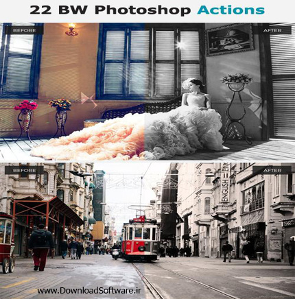 دانلود اکشن جدید فتوشاپ 22 Awesome BW Photoshop Actions