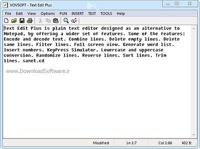 دانلود VovSoft Text Edit Plus نرم افزار ویرایشگر متن