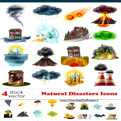 دانلود تصاویر وکتورهای آیکون فاجعه طبیعی