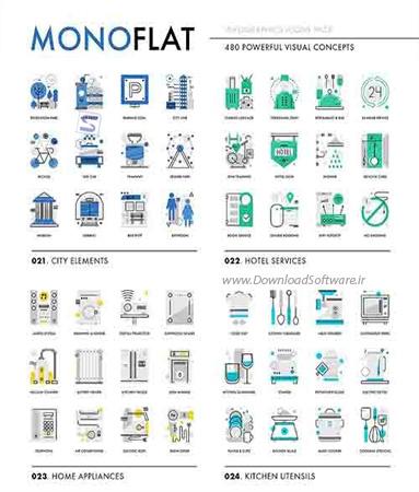 دانلود آیکون های اینفوگرافیک Monoflat Infographics Icons