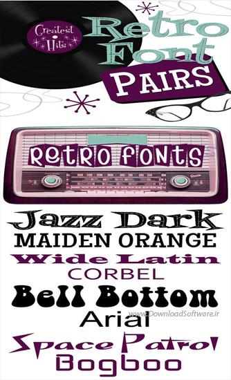 دانلود 11 فونت انگلیسی جدید بنام Retro Fonts Pairs