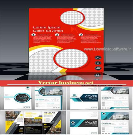 دانلود مجموعه تصاویر گرافیکی وکتور کسب و کار ، رول، بروشور و کارت بیزنس