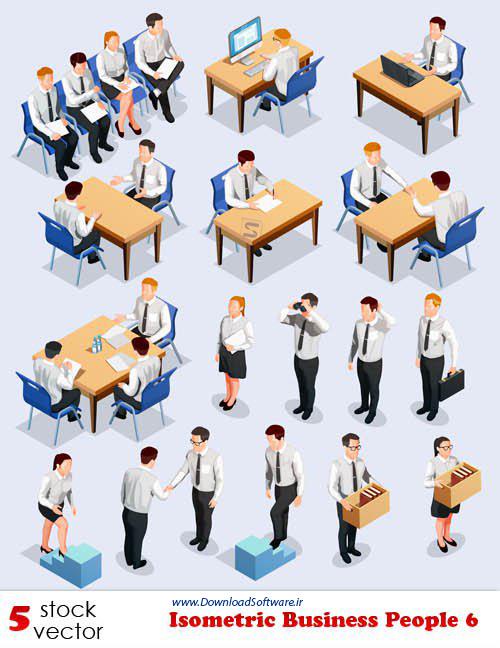 دانلود تصاویر وکتور افراد کسب و کار ایزومتریک