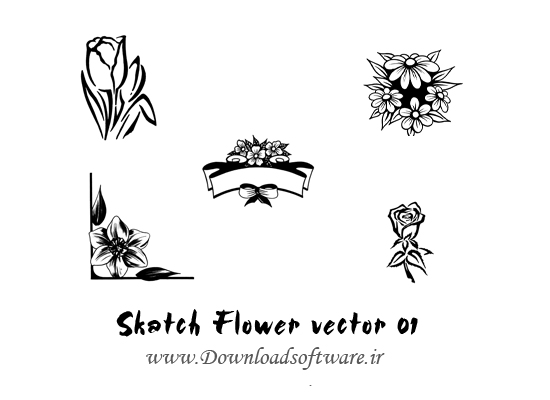 دانلود وکتورهاي طرح گل Skatch Flower vector 01
