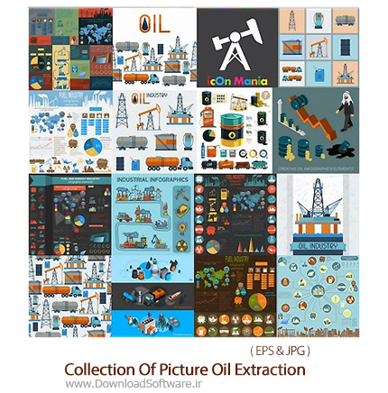 Collection-Of-Vector-Picture-Oil-Extraction-Factory-Infographics