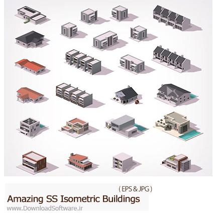 دانلود تصاویر وکتور ساختمان های ایزومتریک از شاتراستوک - Amazing Shutterstock Isometric Buildings