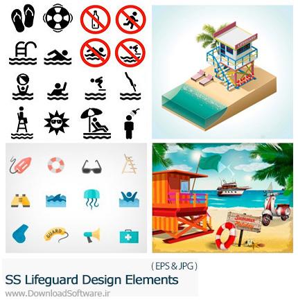 دانلود تصاویر وکتور غریق نجات، وسایل غریق نجات از شاتر استوک - Amazing Shutterstock Lifeguard Design Elements