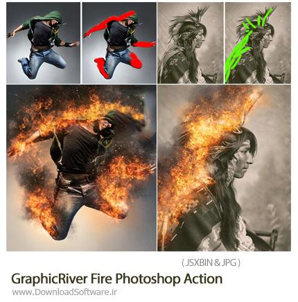 دانلود اکشن فتوشاپ ایجاد افکت آتش بر روی تصاویر از گرافیک ریور - GraphicRiver Fire Photoshop Action