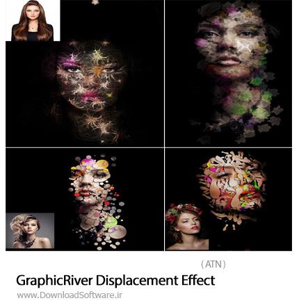 دانلود اکشن فتوشاپ ادغام تصاویر با اشکال فانتزی از گرافیک ریور - Graphicriver Displacement Effect