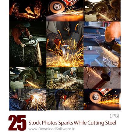 دانلود تصاویر با کیفیت شاتراستوک برشکاری فلزات و فولاد همراه با جرقه - Stock Photos Sparks While Cutting Steel