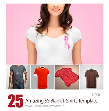 دانلود تصاویر با کیفیت قالب آماده تی شرت خالی از شاتراستوک - Amazing ShutterStock Blank T-Shirts Template