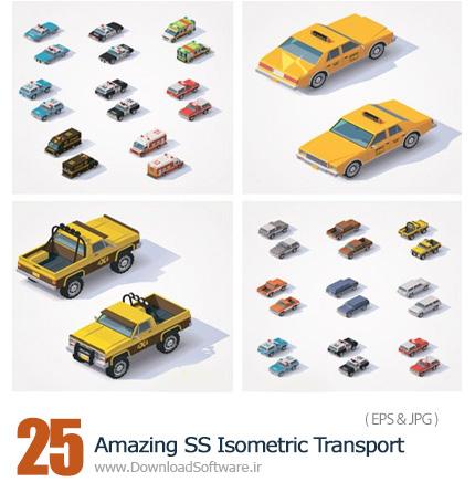 دانلود تصاویر وکتور وسایل حمل و نقل ایزومتریک از شاتر استوک - Amazing ShutterStock Isometric Transport