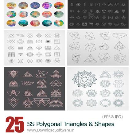 دانلود تصاویر وکتور مثلث های چند ضلعی و اشکال هندسی متنوع از شاتر استوک - Amazing ShutterStock Polygonal Triangles And Shapes