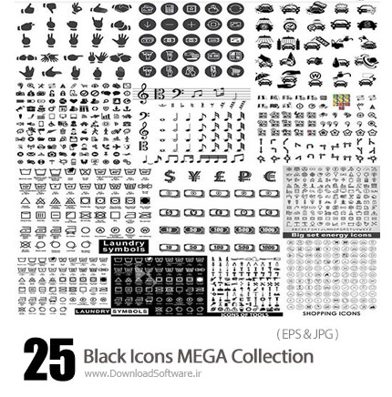 دانلود مجموعه تصاویر وکتور آیکون های متنوع مشکی - Black Icons MEGA Collection