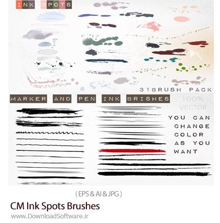 دانلود براش ایلوستریتور لکه و قطرات جوهر - CM Ink Spots Brushes