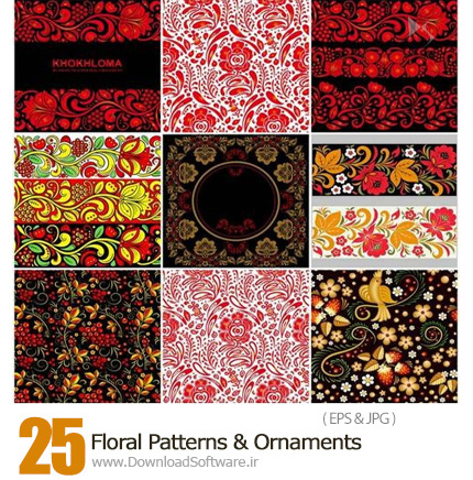 Floral-Patterns-And-Ornaments-In-Khokhloma-Style-downloadsoftware.ir