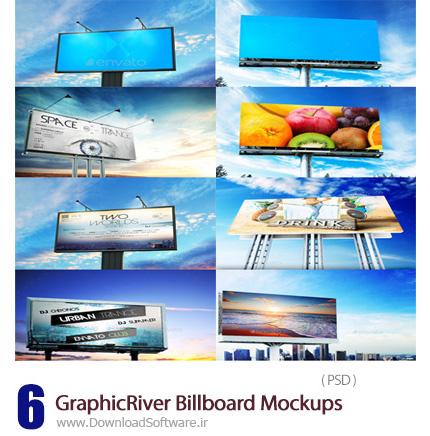 دانلود تصاویر لایه باز قالب پیش نمایش یا موکاپ بیلبوردهای تبلیغاتی از گرافیک ریور - GraphicRiver 6 Billboard Mockups