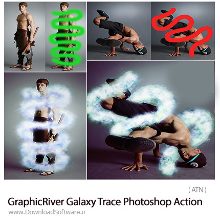 دانلود اکشن فتوشاپ ایجاد مسیر اثر کهکشان بر روی تصاویر از گرافیک ریور - GraphicRiver Galaxy Trace Photoshop Action